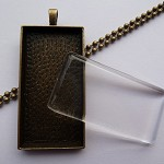 10 x DIY Rectangle antique bronze pendant kit