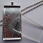10 x DIY Rectangle silver pendant kit