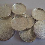 10 x Round 30mm silver plated pendant trays
