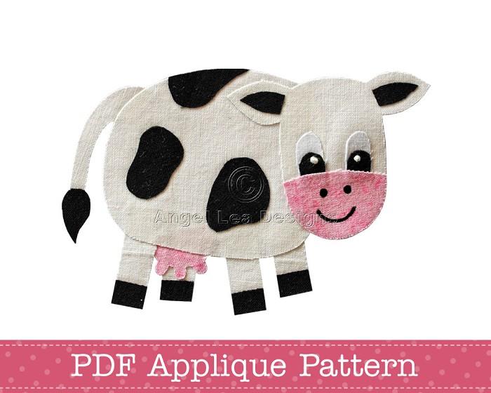 Cow Applique Pattern PDF Template Farm Animal Applique Design