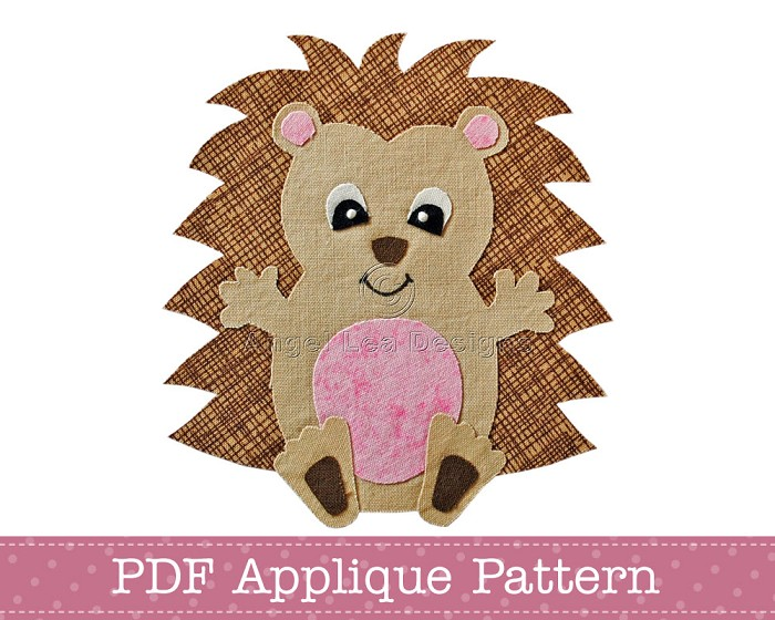 Hedgehog Applique Pattern PDF Template Baby Hedgehog Applique Design