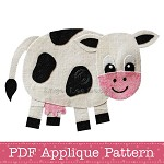 Cow Applique Pattern PDF Template Farm Animal Applique Design