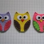 ~3 x cute handmade felt owl appliques~ NEW COLOURS
