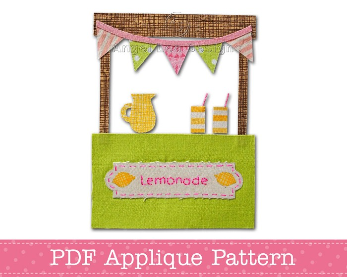 Lemonade Stand Applique Pattern PDF Template Applique Design Summer