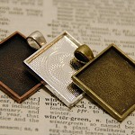 Wholesale...30 Blank Pendant Trays 1 inch x 1 inch square, Mix and Match