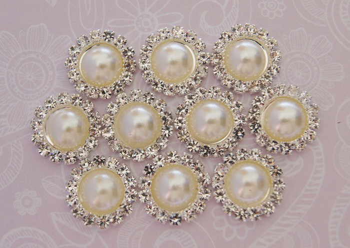 LAST SET Smaller 10 Ivory Pearl Rhinestone Flat Back Buttons - Cabochons - Bling