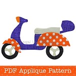 Scooter Applique Template, Motorcycle, Motorbike, DIY, PDF Pattern, Children