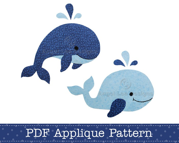 Whale Applique Template, PDF Applique Pattern, Jumping Whale and Swimming Whale