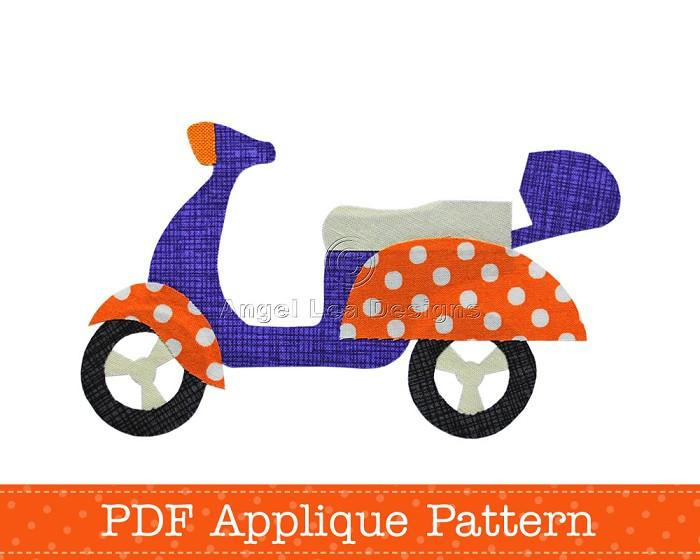 Scooter Applique Template, Motorcycle, Motorbike, DIY, PDF Pattern, Children