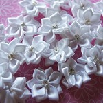 Gorgeous White Ribbon Flower Embellishments with Rhinestone x 10