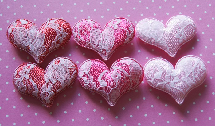 Sweet Lacey Pink and Red Padded Love Hearts Embellishments x 6