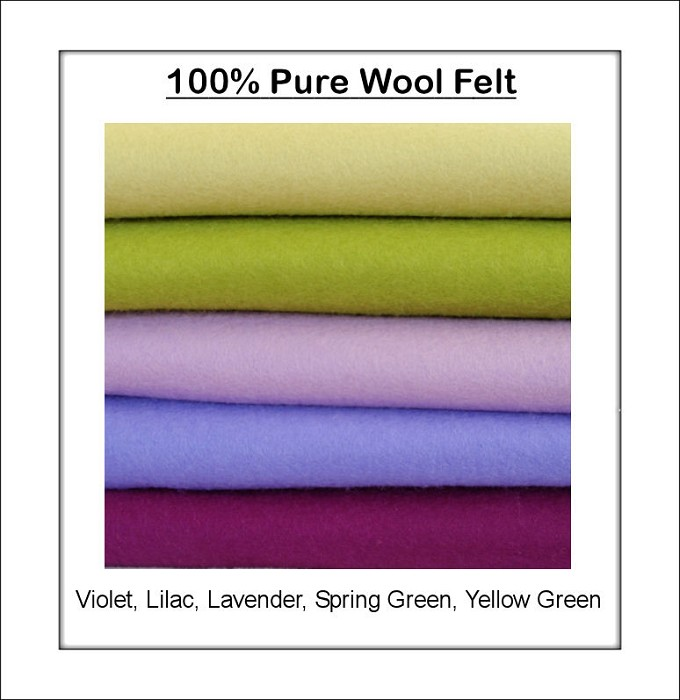 100% PURE WOOL FELT Violet, Lavender, Green Shades - 5 Squares 30cm x 25cm