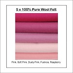 100% PURE WOOL FELT Pink Shades - 5 Squares 30cm x 25cm