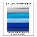 100% PURE WOOL FELT Blue Shades - 6 Squares 30cm x 25cm