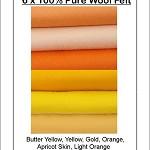 100% PURE WOOL FELT - SunShine Yellows and Oranges 30cm x 25cm