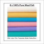 100% PURE WOOL FELT -  6 Squares 30cm x 25cm