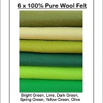 100% PURE WOOL FELT Green Shades -  6 Squares 30cm x 25cm
