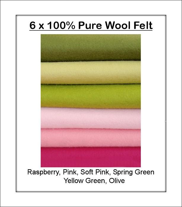 100% PURE WOOL FELT Pink & Green* 6 Squares 30cm x 25cm