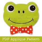 Frog Applique Template PDF Pattern Frog Face Applique Design
