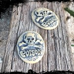 10 Poison Skull Resin Cameos 19x26mm - brooch, ring or pendant use