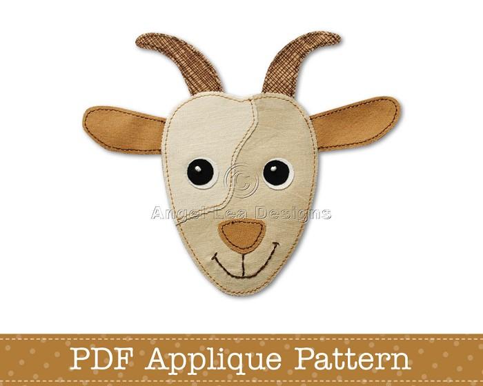 Goat Applique Template PDF Pattern Face Design