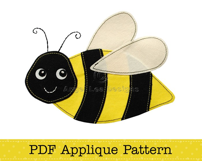 Bee Applique Template PDF Pattern Bumblebee Applique Design