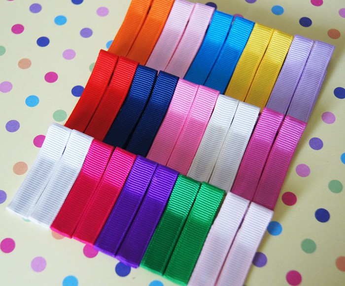 30 Grosgrain Covered Hair Clips-Mixed and Colourful- Set C
