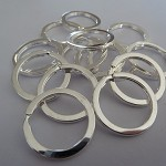 10 x 30mm Silver plated split keyrings