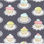 90cms - Quaint Cupcakes in Grey from Its a Girl Thing by Michael Miller