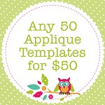 Any 50 PDF Applique Templates, You Choose Designs, Multiple Purchase Discount