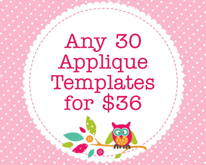 Any 30 PDF Applique Templates, You Choose Designs, Multiple Purchase Discount