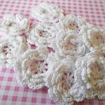 5 White Crochet Flowers