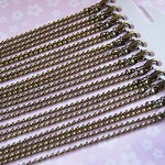 12 x 30'' (76cm) Antique Bronze Ball Link Long Necklaces
