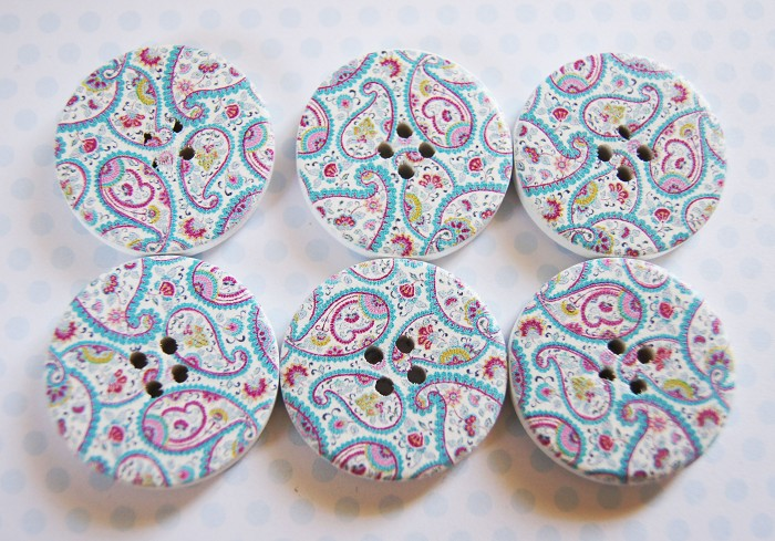 NEW Pretty Paisley Buttons 6