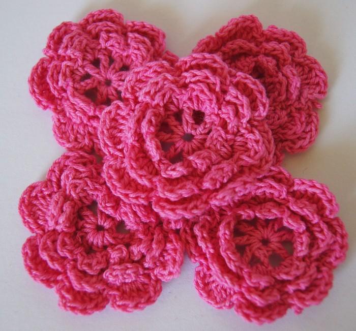 LAST SET  4 Pink Crochet Flowers