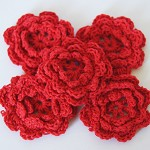 5 Red Crochet Flowers- Christmas