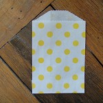 White with Yellow Polka Dots - Small Favour Bags (Set of 10)