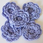 5 Lavender Crochet Flowers - Fantastic for Spring