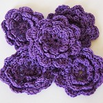 LAST SET 5 Purple Crochet Flowers - Fantastic for hair accessories