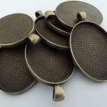 10 x Large Oval antique bronze pendant trays