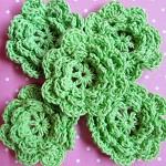 LAST SET 5 Green Crochet Flower Embellishments.
