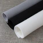 100% pure new wool felt  bundle of 3, black, white, grey