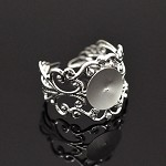 10 Filigree Silver Plate Adjustable Rings Findings