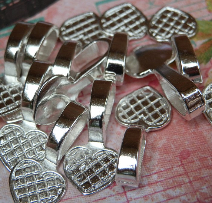 10 Silver Plated Heart shaped Glue on Bails