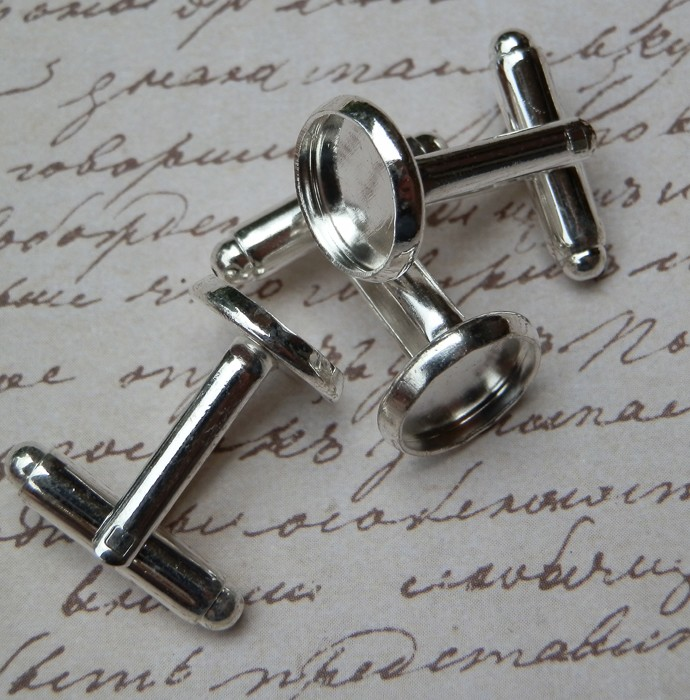 5 Pairs Silver Plated Cabochon Setting Cuff Links 26x12mm