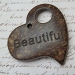 "2 ""Beautiful"" Love Heart Coconut Shell Pendants 4.1x4cm"