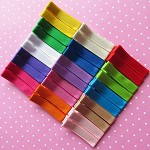 30 Grosgrain Covered Hair Clips in Assorted Colours- Set A.