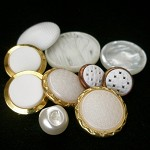 White gold vintage button mix