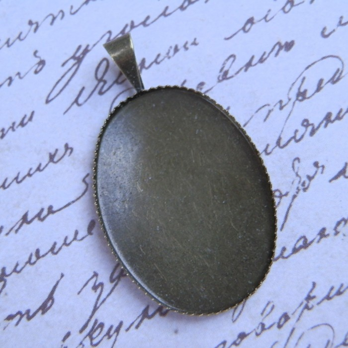 28 x Bronze Tone Oval Cabochon Pendants with Clear Oval Epoxy Stickers