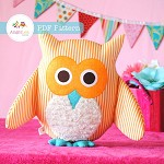 Owl Pattern. Soft Toy Plushie Cushion Nursery or Home Decor. PDF Sewing Pattern